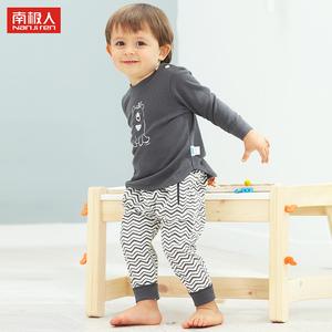 a类婴儿衣服纯棉肩开扣宝宝内衣套装0-1岁2秋衣裤3男宝睡衣4春季5