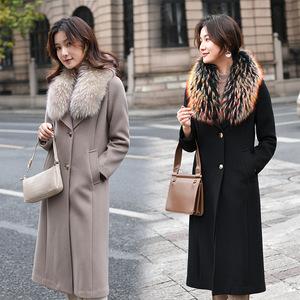 高檔羊絨大衣女貉子毛領冬氣質中長款過膝收腰修身大碼羊毛呢外套