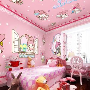 3d卡通小兔子儿童房壁纸粉色公主房卧室背景墙纸可爱女孩床头壁画