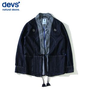 蓝牌DEVS致敬VV经典?#32431;?#29275;仔拼接和服衬衫蓝染开衫道袍外套