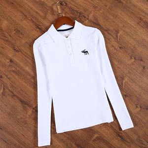 翻领polo衫女长袖有领T恤宽松纯棉运动打底衫衬衫领小鹿白色上衣