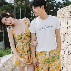 情侣泳衣套装性感2019新款夏季小胸保守遮肚海边度假沙滩温泉女款