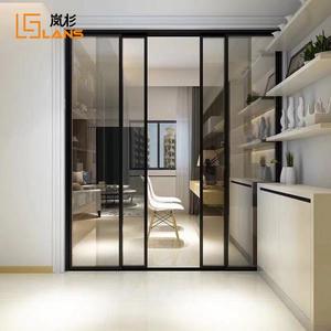嵐杉木門窄邊框網紅款推拉北歐廚房門鈦合金定制窄細框玻璃隔斷16
