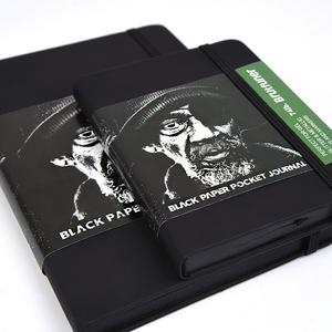 純黑本子黑卡空白頁黑紙筆記本DIY相冊本記事本塗鴉專用本A5/A6