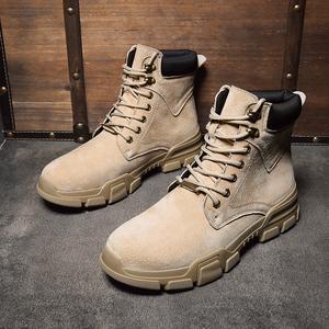 秋冬季加絨馬丁靴男潮流英倫男鞋沙色短靴中高幫棉鞋工裝雪地靴子