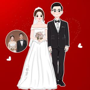 微信头像设计图片真人卡通图像制作结婚照定制ioizz手绘萌q画婚纱