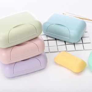 4個裝帶扣蓋皂盒 旅行便攜帶鎖扣有蓋肥皂盒密封防水皂架 香皂盒