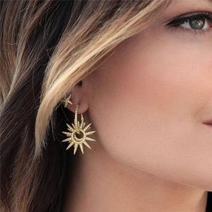 迪奥德 通体925纯银耳钉 韩版微镶不对称活动太阳气质耳环 防过敏