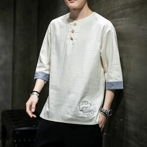 亞麻短袖t恤中國風男裝夏季寬松七分半袖上衣胖子大碼唐裝棉麻衣