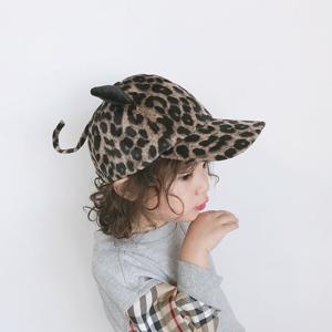 兒童棒球帽可愛小貓咪造型女寶寶豹紋帽子鴨舌帽女童保暖帽子春秋