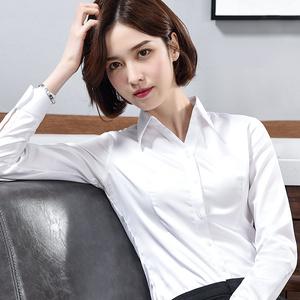 G2000白色襯衫女V領長袖職業ol正裝工作服棉新款秋冬工裝打底襯衣