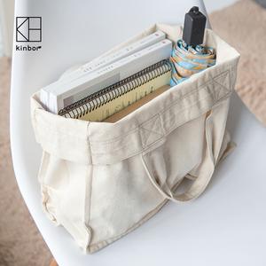 kinbor棉麻手提大码包帆布手提袋大容量帆布袋购物大袋女包环保袋