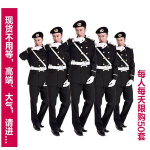 厂家保安服形象岗黑色双排扣立领物业中高端售楼部创意批制服套装