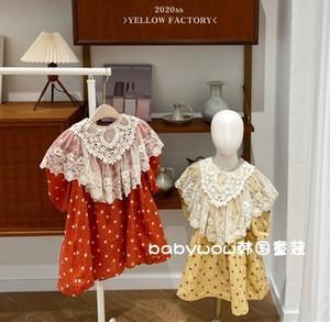 韩国童装代购20春YELLOW PACTORY女童两色网红波点蕾丝领连衣裙
