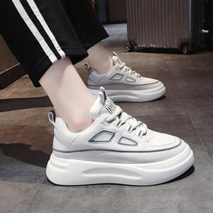 潮牌2020春季新款小白鞋女真皮休閑百搭松糕鞋厚底增高透氣老爹鞋