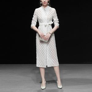 春装2019新款女装白色复古收腰中长款风衣休闲修身薄款过膝外套潮