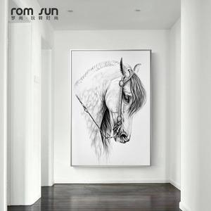 北欧风格玄关装饰画马头黑白素描大幅油画楼梯过道后现代简约墙画
