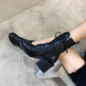真皮馬丁靴女粗高跟短靴2020新款網紅潮ins英倫風系帶帥氣機車靴