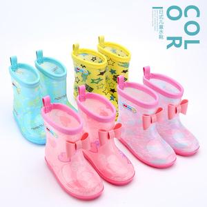 日系中小童宝宝儿童雨鞋男童女童短筒蝴蝶结雨靴小孩中筒防滑水鞋