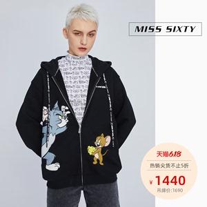 Miss Sixty2020春季新款TOM&JERRY系列印花寬松連帽衛衣外套女