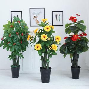 仿真花大型家居装饰盆栽假绿植客厅摆件室内落地塑料花艺盆景摆设