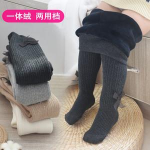 女寶寶連褲襪秋冬款加絨加厚女童打底褲嬰兒大PP保暖可開檔打底褲