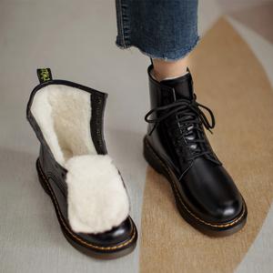 頭層牛皮dr真皮2020新款雪地靴女加絨棉鞋冬馬丁靴女英倫風短靴子