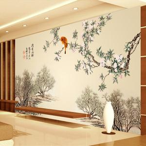 中式山水风景画壁纸 手绘花鸟卧室客厅墙纸无缝3d立体影视墙壁画