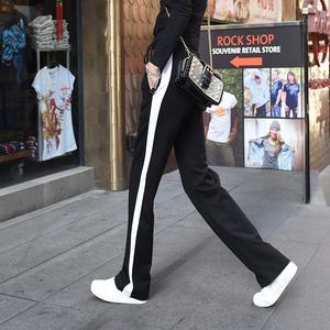 阔腿裤女秋冬加绒加厚运动裤加长垂感微喇叭宽松高腰坠感直筒长裤