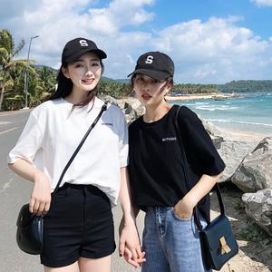 純白色短袖t恤女2019夏裝新款韓版寬松ins潮半袖純棉黑體恤女上衣