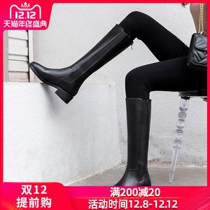 靴子女真皮平底高筒中筒長筒騎士2019秋冬新款長靴41不過膝43大碼