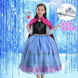 新款冰雪奇缘2长袖安娜公主裙女童迪纯棉蓬蓬裙斯尼圣诞节服装