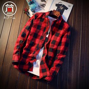 格子衬衫男士长袖夏季薄款韩版修身潮流帅气休闲短袖衬衣外套寸衣