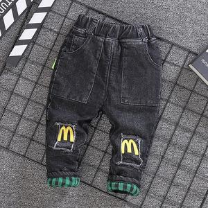 男宝加绒裤子秋冬男童牛仔裤婴儿0-1-2-3-4岁洋气弹力软冬装棉裤