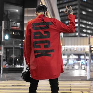 韩版chic长袖衬衣?#20449;産f风春秋季欧美街头嘻哈潮流中长款衬衫外套
