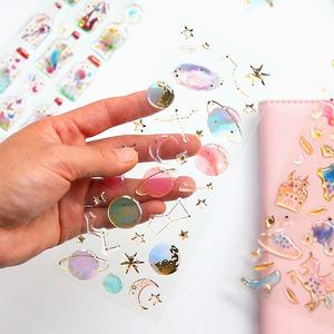 娜小屋少女心滴膠水晶燙金透明立體裝飾手帳手機貼紙可愛手賬貼畫