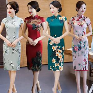 旗袍年輕款少女中國風老上海復古改良新式旗袍連衣裙春夏季中長款