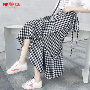 2020春裝新款夏季裙子a字格子裙一片式中長款不規則半身裙女春秋