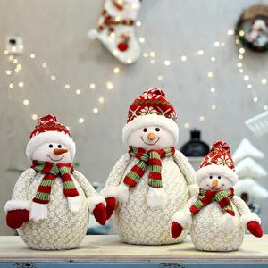 圣诞节装饰雪花系列公仔雪人老人圣诞树摆件酒店商场场景布置道具