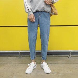 青少年港风纯色简约复古小脚男士学生牛仔裤韩版修身青年九分文艺