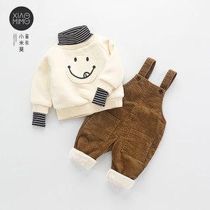 宝宝背带裤加绒1一2-3岁男童小童灯芯绒棉裤休闲婴幼儿连体裤子冬