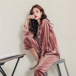 日本代购gelato pique睡衣女士秋冬新款?#21487;?#32763;领金丝绒套装家居服