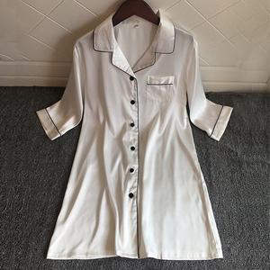 白色衬衫性感睡衣女冰丝绸薄款睡裙女夏季开衫衬衣式韩版2019新款