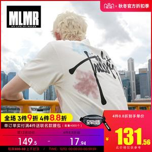MLMR2019新款男士秋冬纯棉休闲潮流圆领白色字母印花短袖T恤上衣