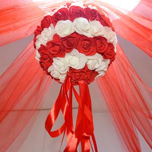 結婚慶用品婚房裝飾仿真花繡球套餐掛飾婚禮現場布置吊飾拉花紗幔