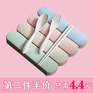 便携筷子勺子套装餐具三件套日式小麦秸秆叉子学生可爱餐具收纳盒
