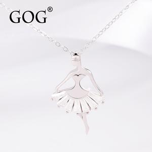 GOGs925純銀項鏈吊墜女韓版甜美芭蕾舞者公主水晶裙女孩鎖骨鏈女