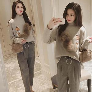 2019秋冬季韓版女裝學生哈倫褲軟妹兩件套裝時髦秋裝時尚潮學院風