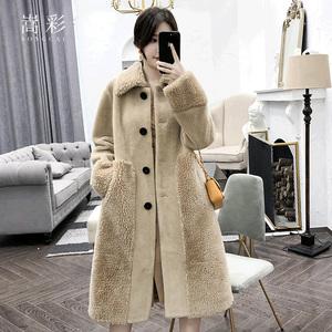 颗粒羊剪绒大衣女中长款2019秋冬新款羊羔毛皮草海宁皮毛一体外套