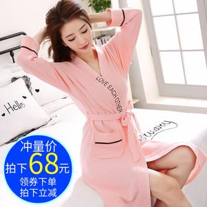 韩版性感睡袍女春秋长款可爱纯棉长袖浴袍日式薄款浴衣睡衣女秋季